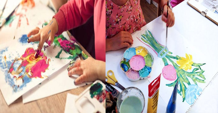 niños-pintando